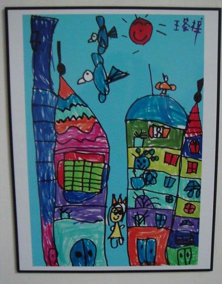 幼儿美术作品:新世纪的房子图片