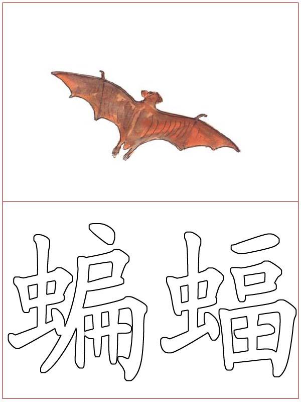 汉字涂色:蝙蝠_动物卡片 - 宝宝吧