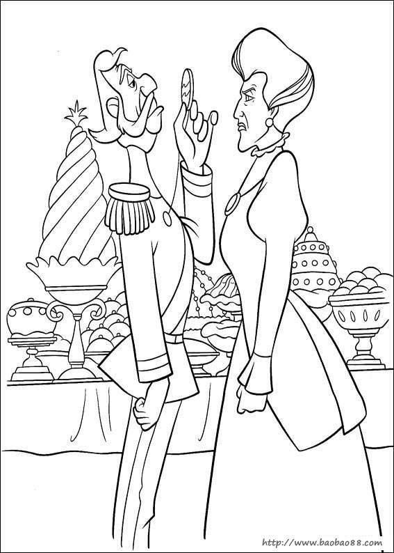灰姑娘涂色卡 卡通动漫简笔画 涂色图片