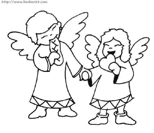 小天使简笔画[11p]_人物简笔画(涂色图片)-【宝宝吧