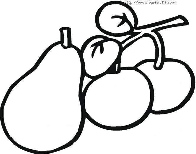 各种桃子简笔画[14p]_植物简笔画(涂色图片)