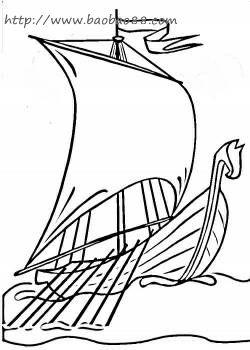 帆船轮船 简笔画 1
