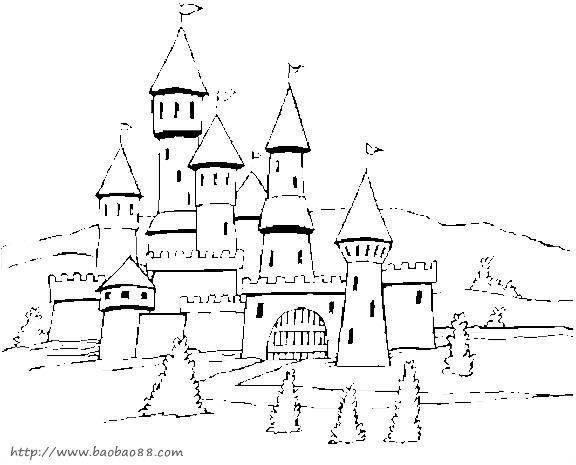 【冰淇淋城堡简笔画】:动物简笔画:城堡简笔画卡通版-冰淇淋店铺