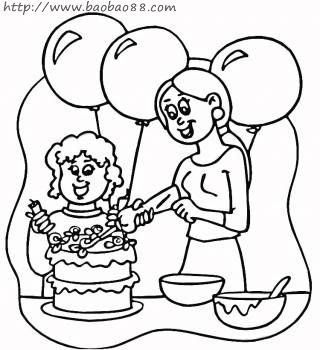 幼儿园小朋友帮妈妈刷碗简笔画