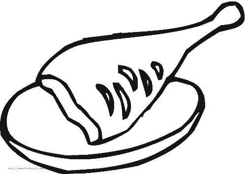 西餐肉食简笔画[14p]_食物简笔画(涂色图片)