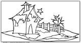 雪景、雪人的简笔画