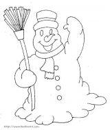 雪景、雪人的简笔画2