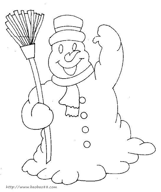 雪景,雪人的简笔画