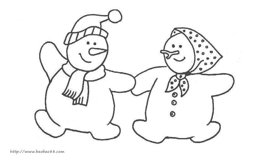 简单的雪人简笔画方法