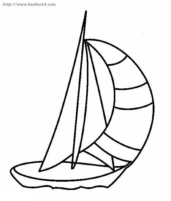 帆船简笔画[10p]_交通工具简笔画(涂色图片)
