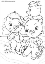三只小猪涂色图片