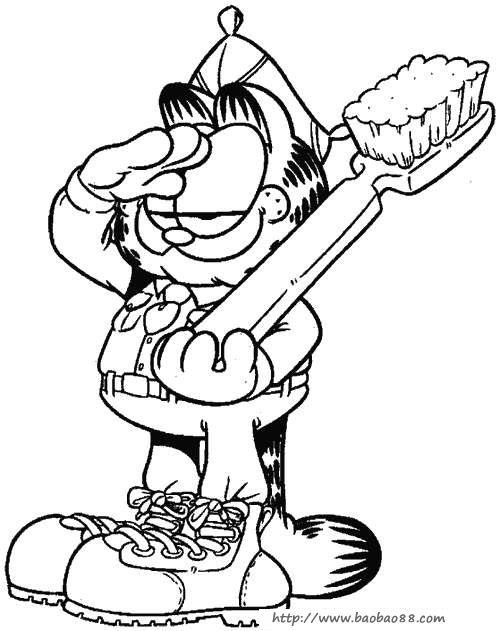 加菲猫涂色图片(一)[50p]_卡通动漫简笔画(涂色图片)