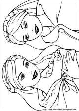 美人鱼简笔画 芭比公主填色图