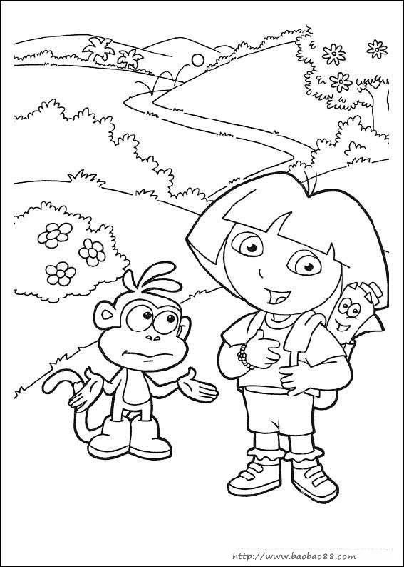 朵拉填色图片[10p]_卡通动漫简笔画(涂色图片)