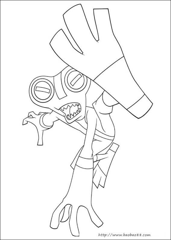 少年骇客 ben10 简笔画 卡通动漫简笔画 涂色图片 Ben 10 Xlr8 Coloring Pages