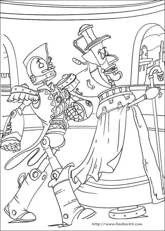 卡通机器人简笔画