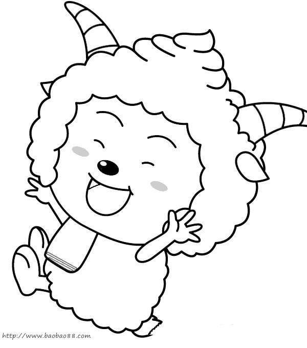 喜羊羊简笔画[16p]_卡通动漫简笔画(涂色图片)