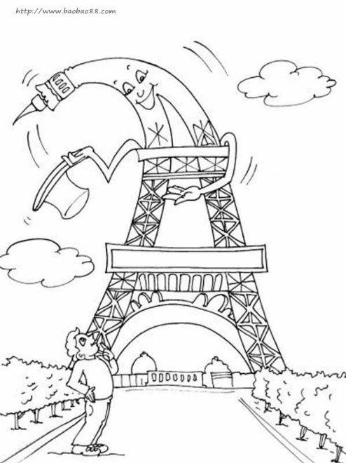 埃菲尔铁塔的简笔画图片