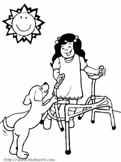 残疾人简笔画[30p]_人物简笔画(涂色图片) - 【宝宝吧