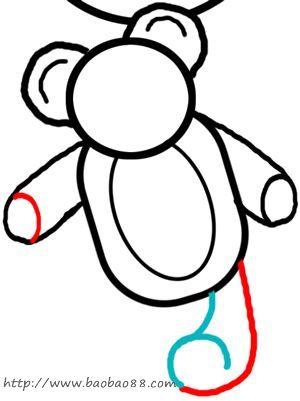 学画泰迪小熊 学习绘画简笔画 涂色图片