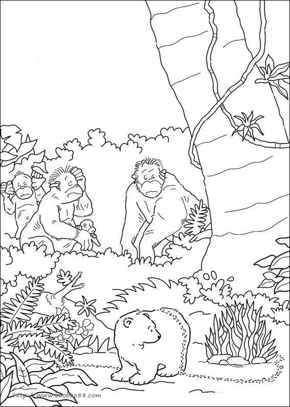 可爱北极熊涂色[37p]_动物简笔画(涂色图片)