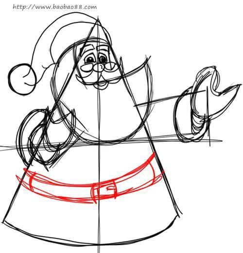 画送礼物的圣诞老人 学习绘画简笔画 涂色图片