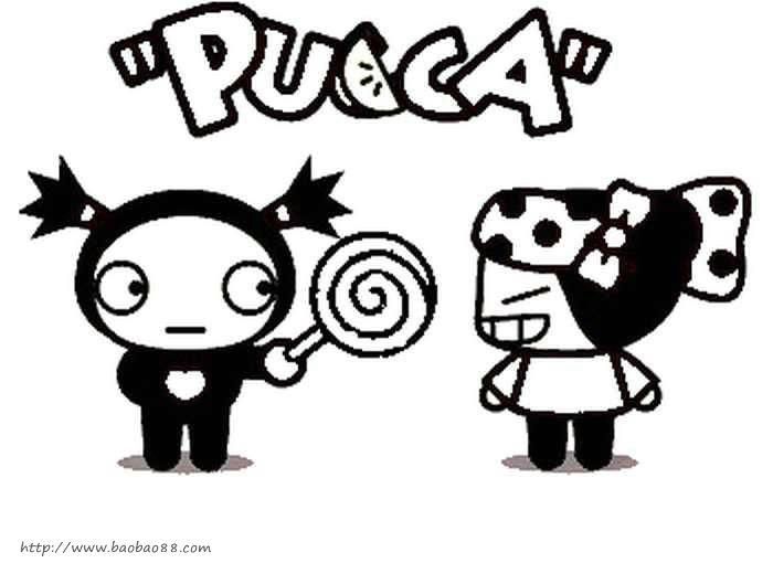 pucca 中国娃娃 简笔画 卡通动漫简笔画 涂色图片