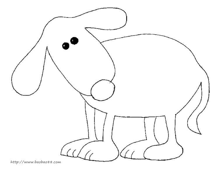 小动物背影简笔画_小动物运动会简笔画