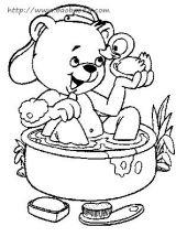 小动物洗澡简笔画2