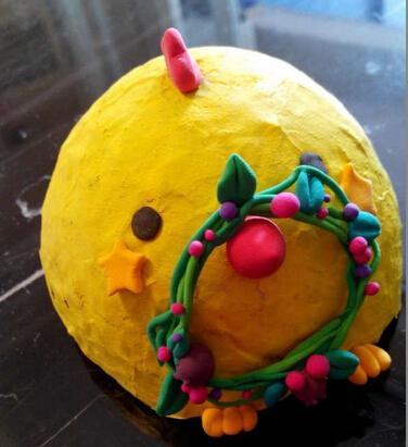 幼儿手工小制作图解-漂亮的小黄鸡