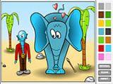 椰树和大象涂色