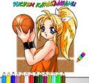 女生打篮球涂色
