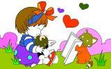 小女孩小花猫读书