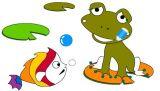 幼儿涂色:青蛙和鲤鱼
