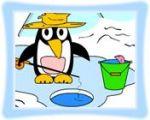 企鹅钓鱼涂色