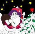星空圣诞老人涂色