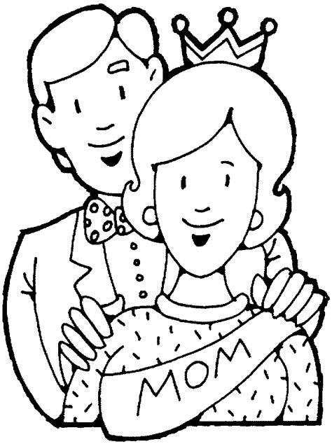 3 father 1 mother coloring pages   母亲节填色图10幅_颜色卡片 - 宝宝吧