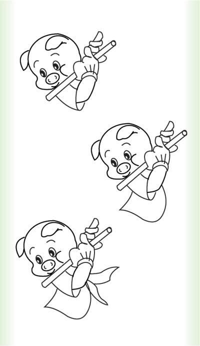 小猪 简笔画4张