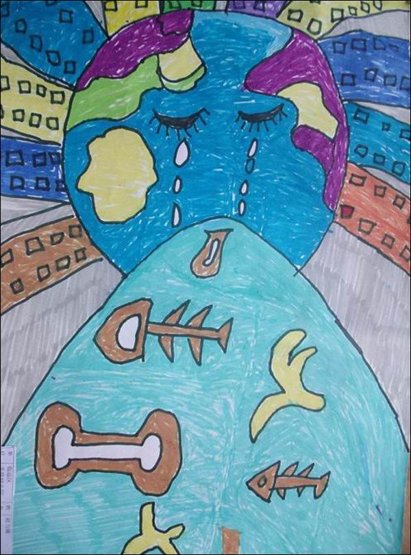 环保幼儿绘画作品 我爱地球妈妈 5幅