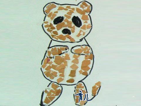 蛋壳贴画-小熊